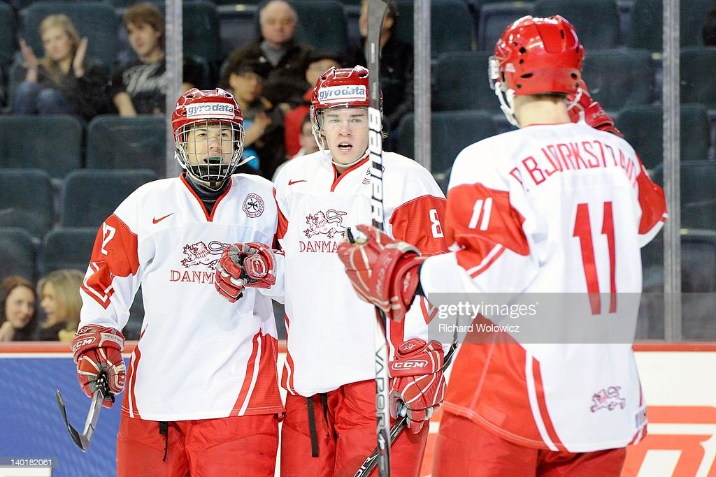 Members of Team Denmark celebrate a first period goal during the 2012 World Junior Hockey Championship game against Team Switzerland at the Saddledome on January 2, 2012 in Calgary, Alberta, Canada.