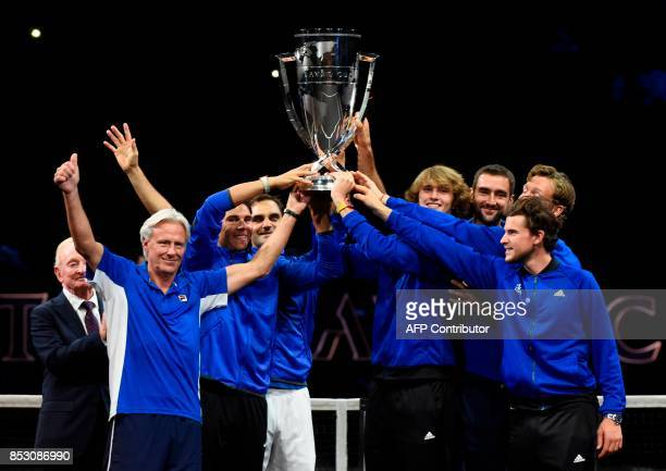 Members of Team Europe pose with the trophy of the Laver Cup with former Australian tennis player Rod Laver on September 24 2017 in O2 Arena in...