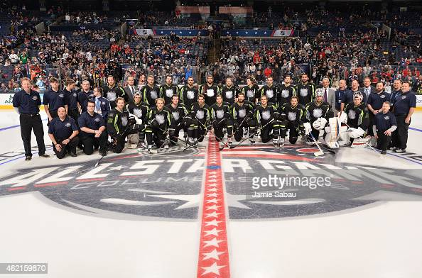 Members of Team Foligno pose for a group team photo prior to the 2015 Honda NHL AllStar Game at Nationwide Arena on January 25 2015 in Columbus Ohio