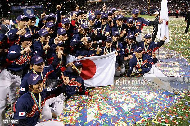 Members of Team Japan celebrate after defeating Team Cuba in the Final game of the World Baseball Classic at Petco Park on March 20 2006 in San Diego...