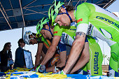 Members of team LiquigasCannondale sign jerseys prior to Stage 6 of the AMGEN Tour of California