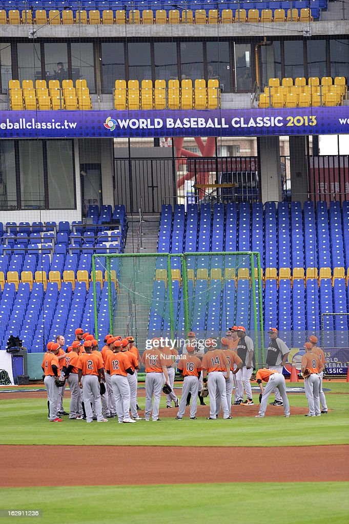 Members of Team Netherlands having meeting on the mound during the World Baseball Classic workout day at Taichung Intercontinental Baseball Stadium on March 1, 2013 in Taichung, Taiwan.