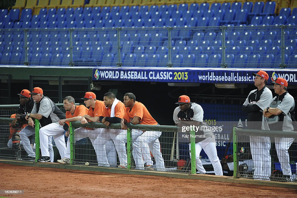 Members of Team Netherlands look on from the dugout during the World Baseball Classic exhibition game against the Industrial All-Star Team at Intercontinental Stadium on Tuesday, February 26, 2013 in Taichung, Tawain.