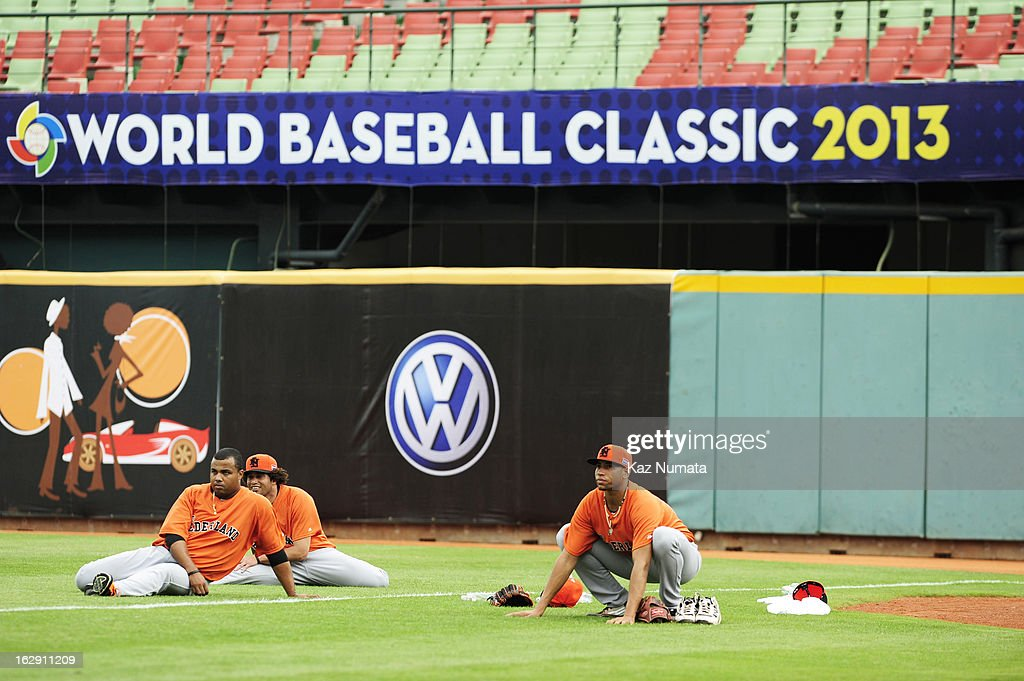 Members of Team Netherlands stretch during the World Baseball Classic workout day at Taichung Intercontinental Baseball Stadium on March 1, 2013 in Taichung, Taiwan.