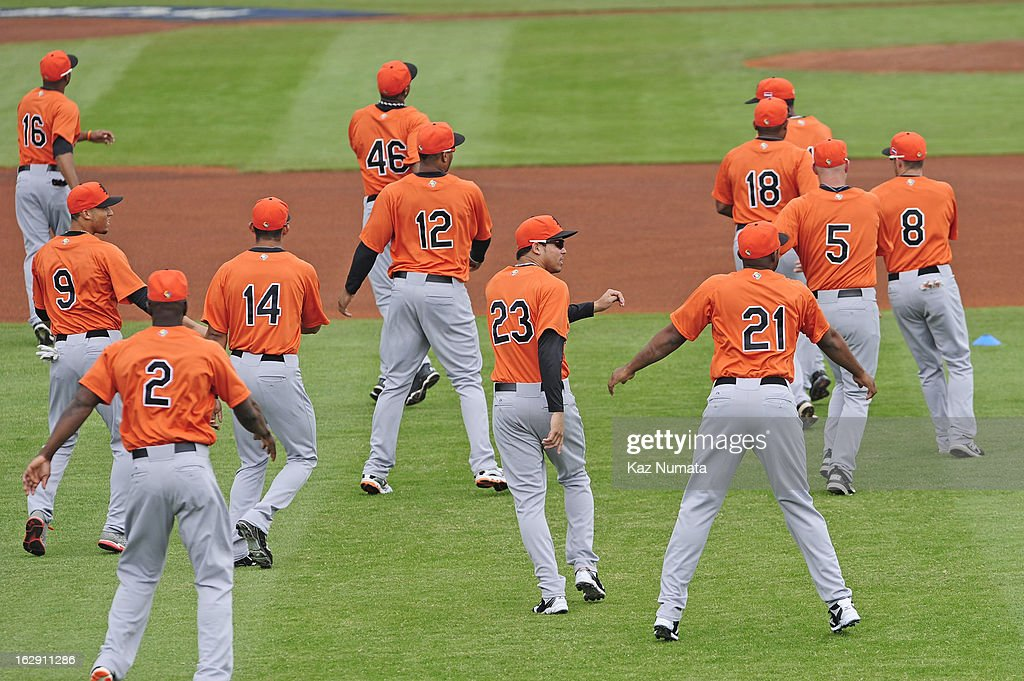 Members of Team Netherlands warm up during the World Baseball Classic workout day at Taichung Intercontinental Baseball Stadium on March 1, 2013 in Taichung, Taiwan.