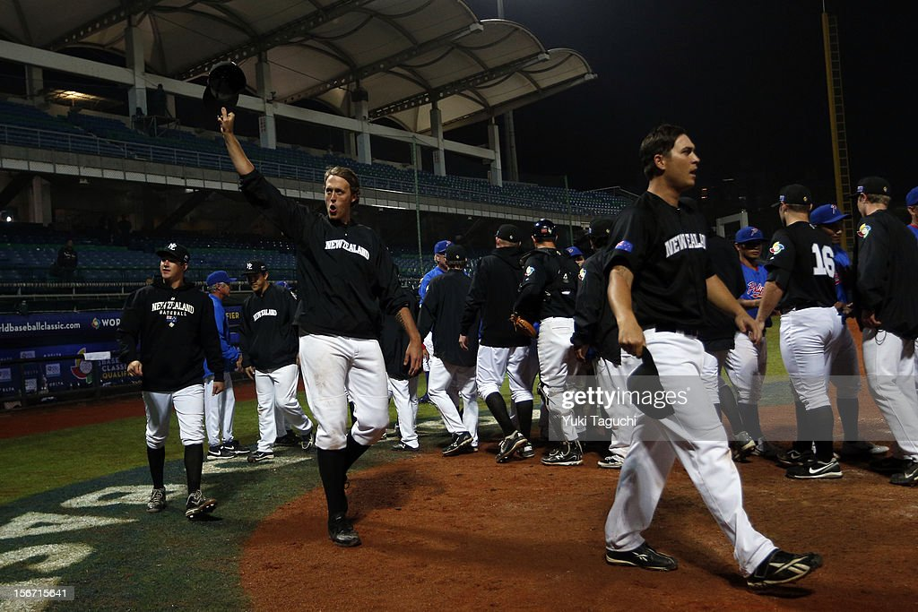 Members of Team New Zealand acknowledge the crowd after defeating Team Philippines in Game 5 of the 2013 World Baseball Classic Qualifier between Team New Zealand and Team Philippines at Xinzhuang Stadium in New Taipei City, Taiwan on Saturday, November 17, 2012.