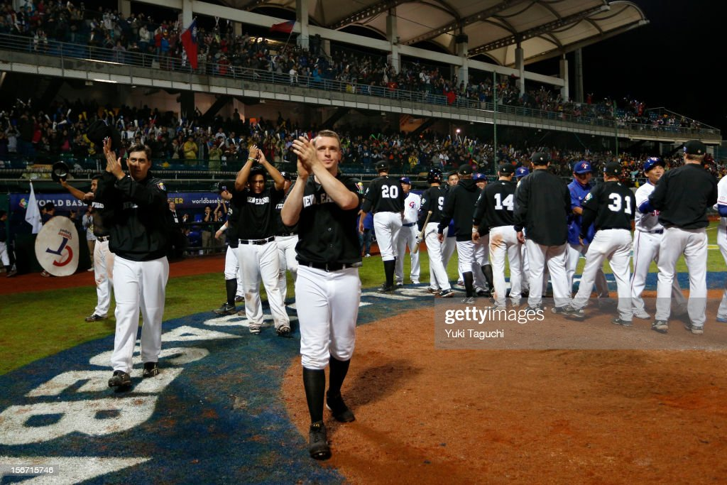 Members of Team New Zealand acknowledge the crowd after Game 6 of the 2013 World Baseball Classic Qualifier against Team Chinese Taipei at Xinzhuang Stadium in New Taipei City, Taiwan on Sunday, November 18, 2012.