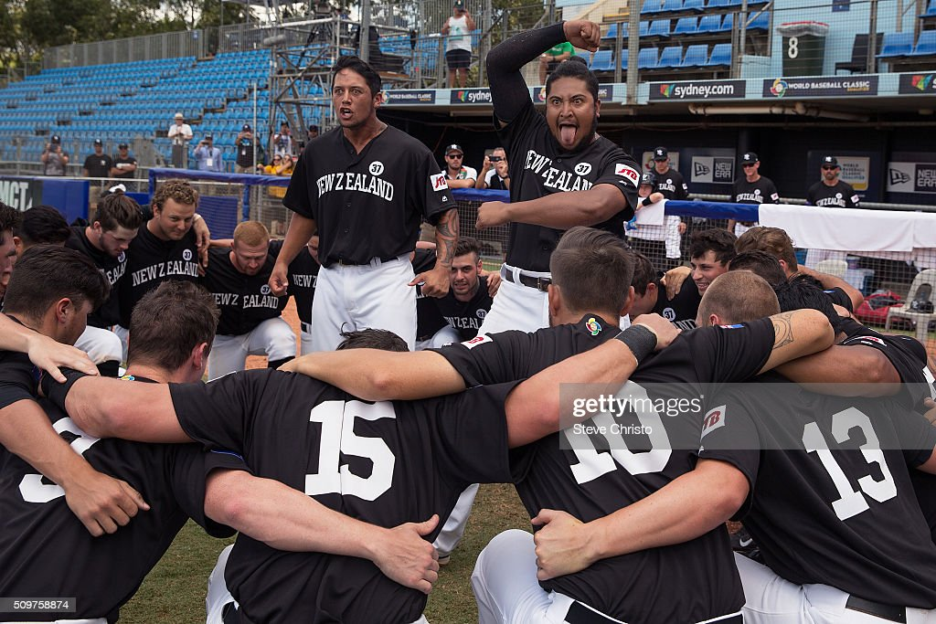 Members of Team New Zealand perform the Haka before Game 3 of the World Baseball Classic Qualifier against Team Philippines at Blacktown International Sportspark on Friday, February 12, 2016 in Sydney, Australia.