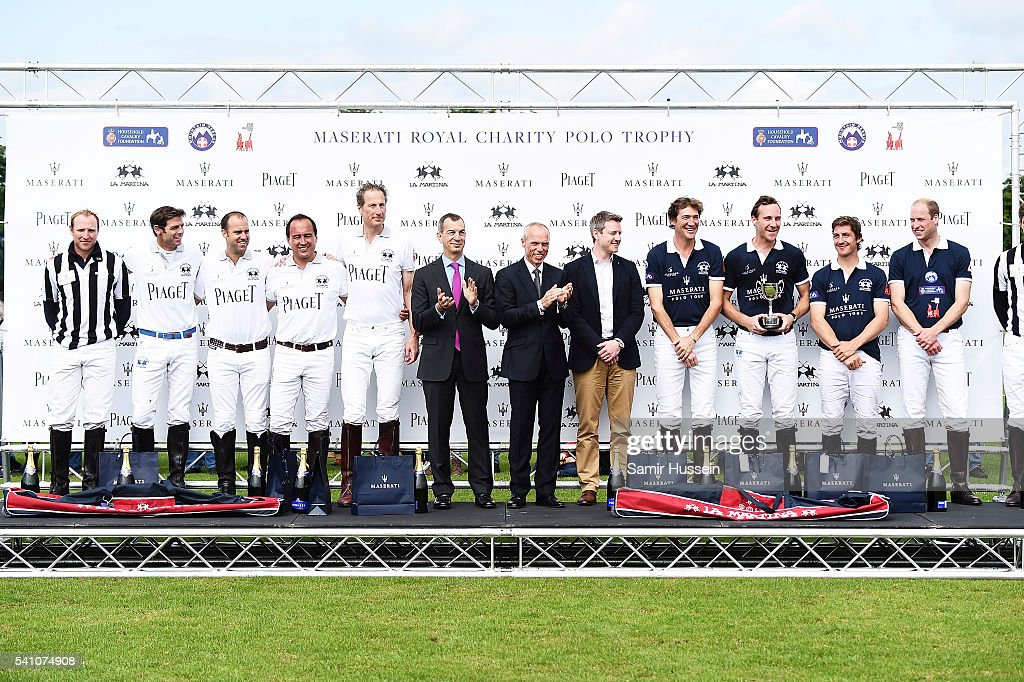 Members of team Piaget and team Maserati pose for a photo during the Gloucestershire Festival of Polo at Beaufort Polo Club on June 18, 2016 in Tetbury, England.