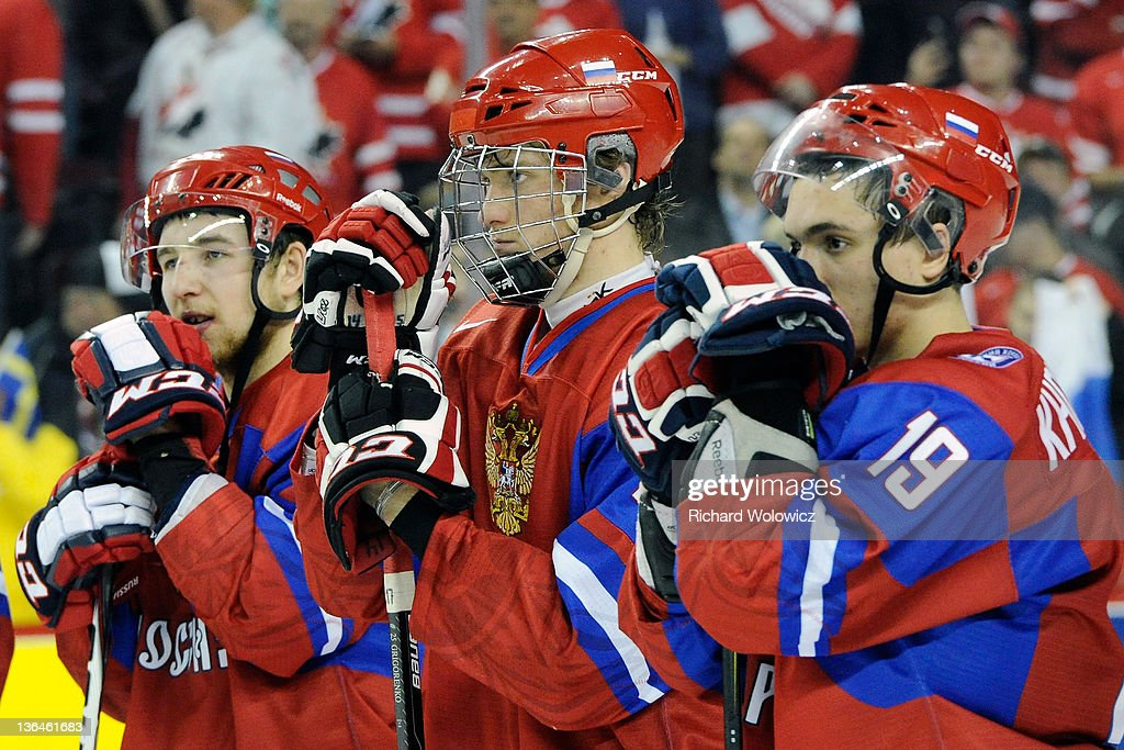 Members of Team Russia react after being defeated by Team Sweden in overtime at the 2012 World Junior Hockey Championship Gold Medal game at the Scotiabank Saddledome on January 5, 2012 in Calgary, Alberta, Canada. Team Sweden defeated Team Russia 1-0 in overtime.