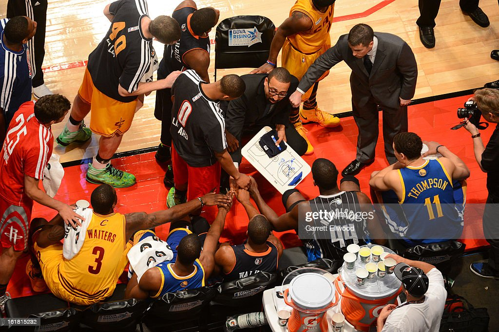 Members of Team Shaq gather during a time-out against Team Chuck during 2013 BBVA Rising Stars Challenge at Toyota Center on February 15, 2013 in Houston, Texas.