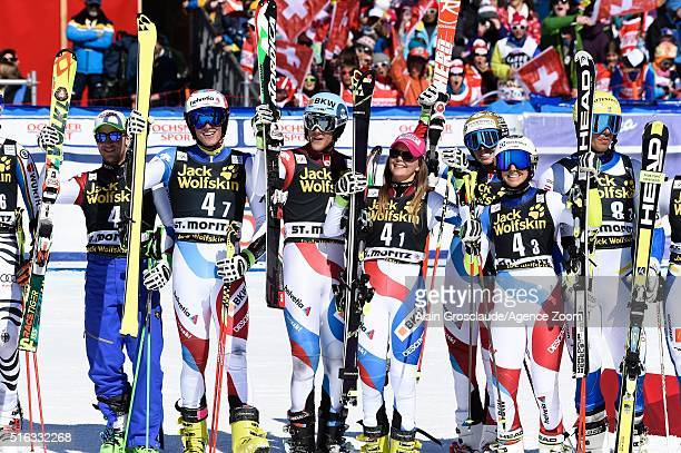 Members of Team Switzerland celebrate their 1st place during the Audi FIS Alpine Ski World Cup Finals Men's and Women's Team Event on March 18 2016...