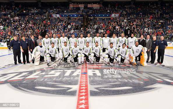Members of Team Toews pose for a group team photo prior to the 2015 Honda NHL AllStar Game at Nationwide Arena on January 25 2015 in Columbus Ohio