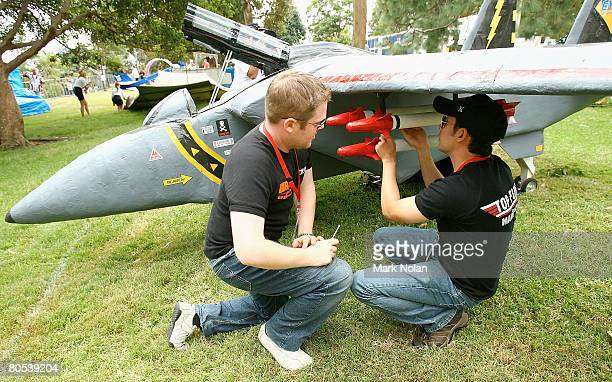 Members of team Top Gun prepare their craft before the Red Bull Flugtag held at Mrs Macquaries Point April 6 2008 in Sydney Australia