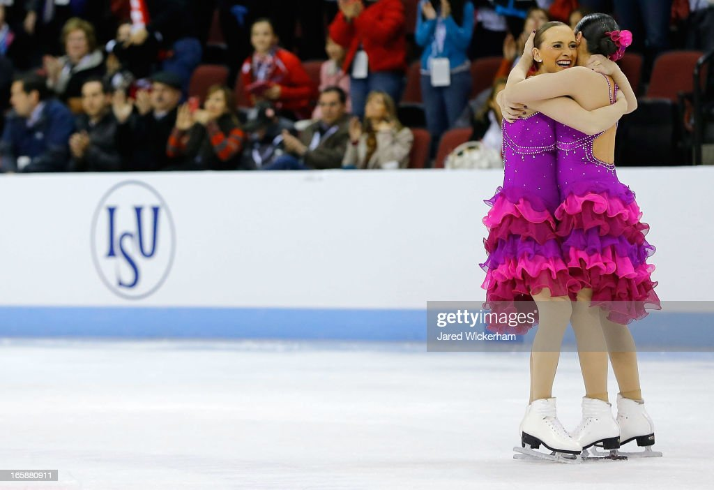 Members of Team United States of America 1 reacts on the ice following their performance during the free skating competition of the ISU World Synchronized Skating Championships at Agganis Arena on April 6, 2013 in Boston, Massachusetts.