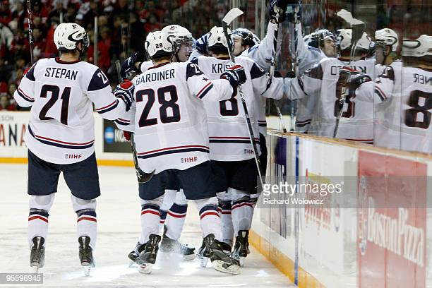 Members of Team USA celebrate the third period goal by Jerry D'Amigo during the 2010 IIHF World Junior Championship Tournament Gold Medal game...