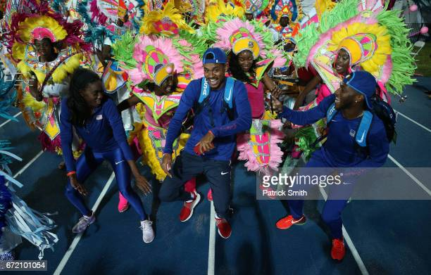 Members of team USA celebrate with Junkanoo dancers after the IAAF/BTC World Relays Bahamas 2017 at Thomas Robinson Stadium on April 23 2017 in...