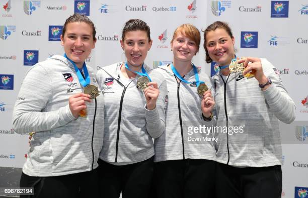Members of Team USA hold their gold medals won during the Team Women's Epee event on June 16 2017 at the PanAmerican Fencing Championships at Centre...