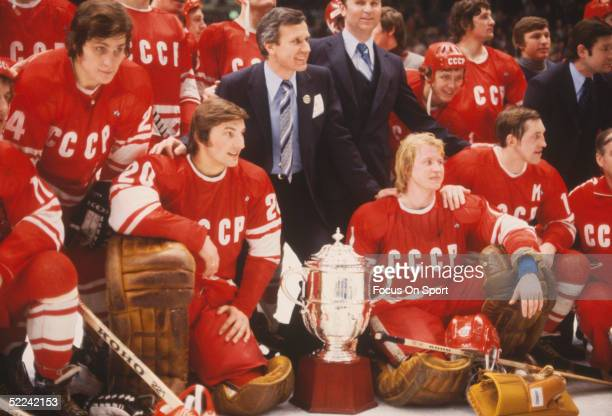 Members of Team USSR pose with the trophy following their defeat of the NHL All Stars to win the 1979 Challenge Cup at Madison Square Garden on...