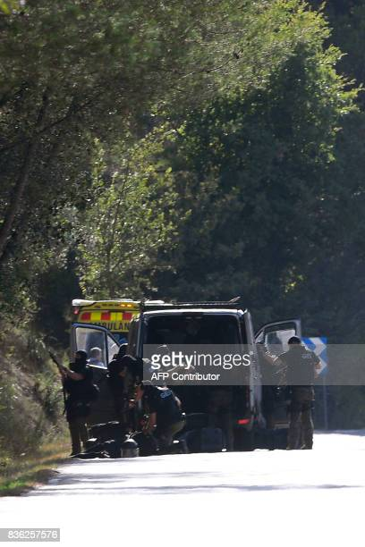 Members of TEDAXNRBQ arrive on the site where Moroccan suspect Younes Abouyaaqoub was shot on August 21 2017 near Sant Sadurni d'Anoia south of...