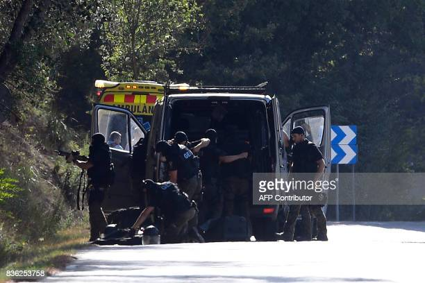 Members of TEDAXNRBQ on the site where Moroccan suspect Younes Abouyaaqoub was shot on August 21 2017 near Sant Sadurni d'Anoia south of Barcelona...