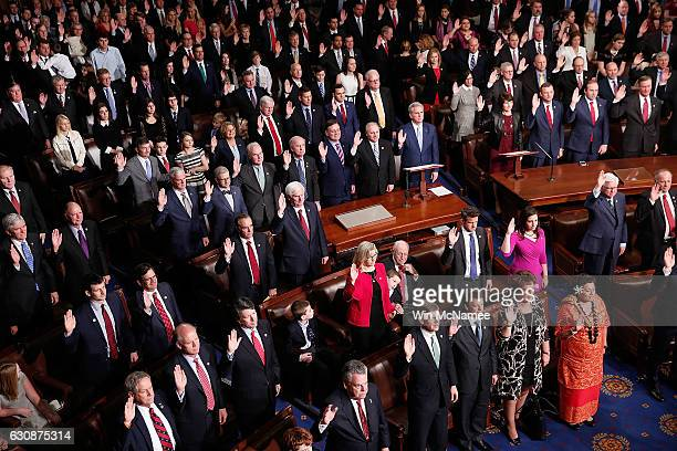 Members of the 115th US Congress take their oath of office January 3 2017 in Washington DC Seven new members of the US Senate and 52 new members of...