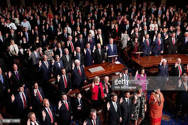 Members of the 115th US Congress take their oath of office on the floor of the House of Representaives January 3 2017 in Washington DC Seven new...