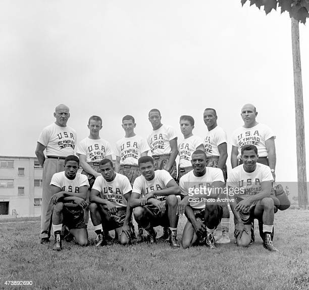 Members of the 1960 Summer Olympic Mens Boxing Team Pictured Back Row Coach Ben Becker Jeremy Lee Armstrong Humberto O Barrera Harry Campbell...