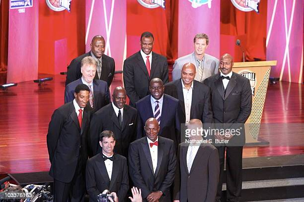 Members of the 1992 USA Olympic Dream Team Scottie Pippen Larry Bird John Stockton Patrick Ewing Michael Jordan David Robinson Earvin Magic Johnson...