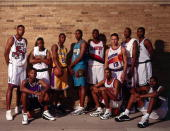 Members of the 1996 Rookie Orientation Program from left to right Marcus Camby Ray Allen Stephon Marbury Kobe Bryant Shareef AbdurRahim Jermaine...