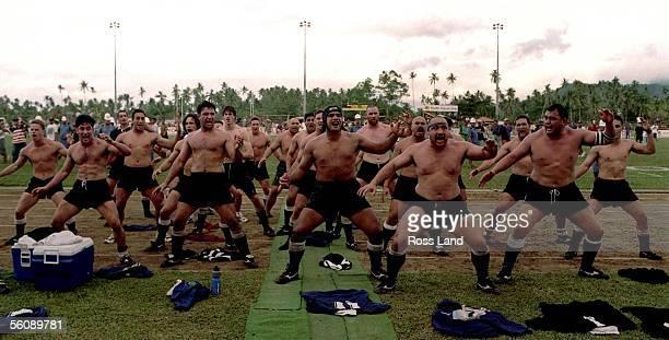 Members of the 1997 New Zealand Maori All Black side performe a Haka followoing their win over Manu Samoa at Apia Park Samoa June 14 1997