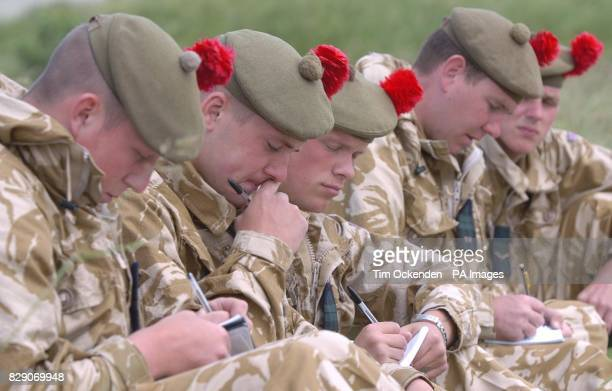 Members of the 1st Battalion The Black Watch during a training exercise on Salisbury Plain before the Battallion's deployment to southern Iraq later...