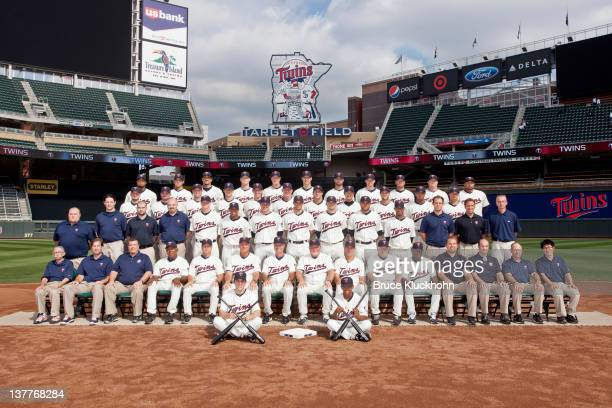 Members of the 2011 Minnesota Twins pose for the team photo prior to the game with the Baltimore Orioles on August 23 2011 at Target Field in...