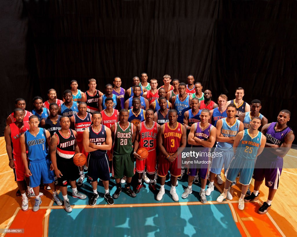 Members of the 2012 rookies poses for a group portrait during the 2012 NBA rookie photo shoot on August 21, 2012 at the MSG Training Facility in Tarrytown, New York.
