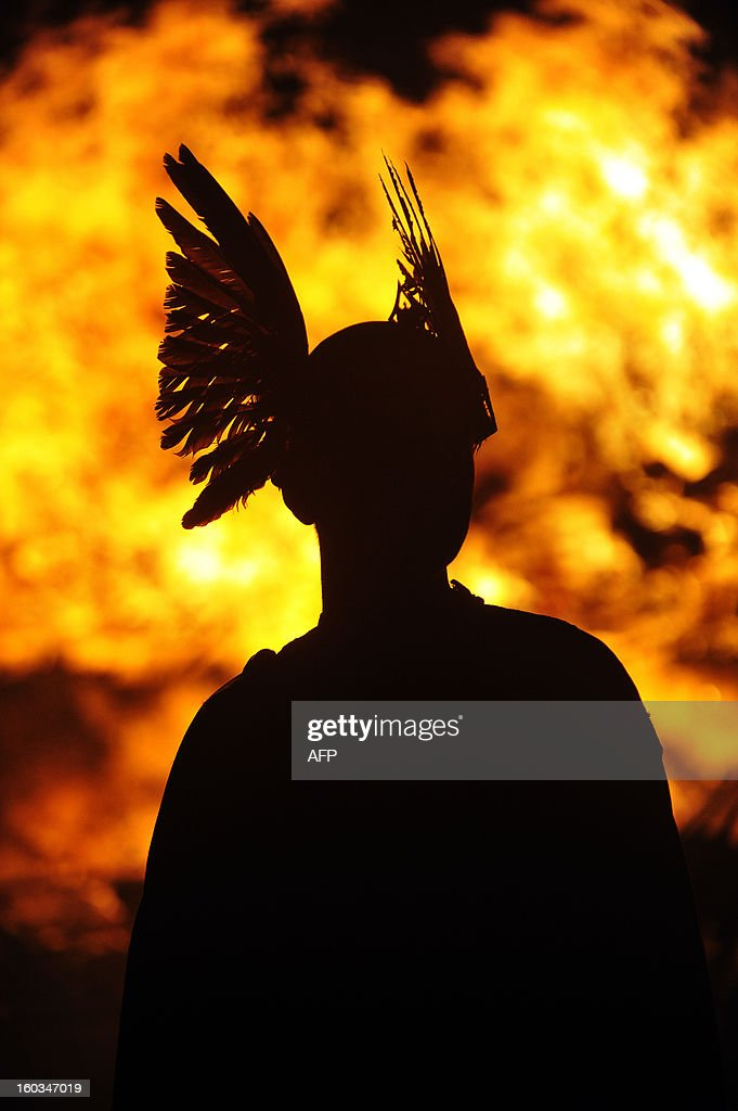 Members of the 2013 'Jarl Squad' prepare for the annual Up Helly Aa festival which culminates in the burning of a Viking Galley in Lerwick Shetland...