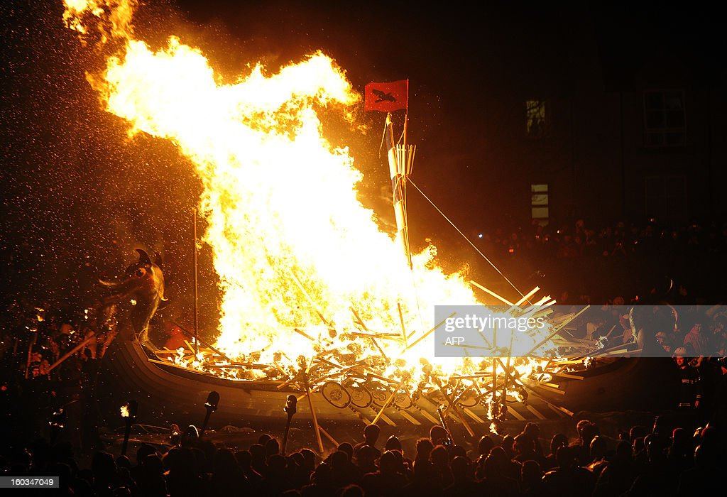 Members of the 2013 'Jarl Squad' take part in the annual Up Helly Aa festival which culminates in the burning of a Viking Galley in Lerwick, Shetland Islands on January 29, 2013. Up Helly Aa celebrates the influence of the Scandinavian Vikings in the Shetland Islands and has employed this theme in the festival since 1870. The event culminates with up to 1,000 'guizers' (men in costume) throwing flaming torches into their Viking longboat.