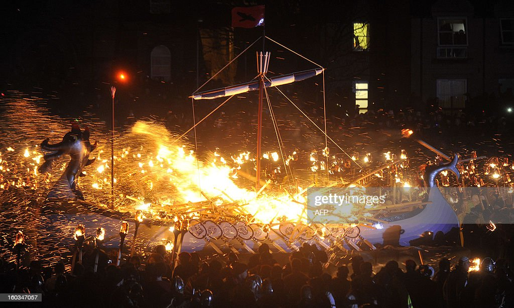 Members of the 2013 'Jarl Squad' take part in the annual Up Helly Aa festival which culminates in the burning of a Viking Galley in Lerwick Shetland...