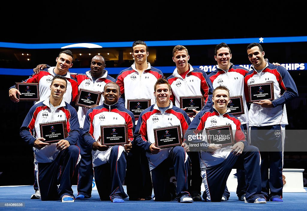 Members of the 2014 United States mens senior national team pose for a photo on stage following the 2014 P&G Gymnastics Championships at Consol Energy Center on August 24, 2014 in Pittsburgh, Pennsylvania.