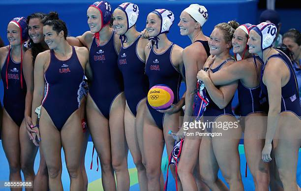 Members of the 2016 US Olympic Women's Water Polo Team pose for a photo after a training session at the Olympics Aquatics Stadium on August 3 2016 in...