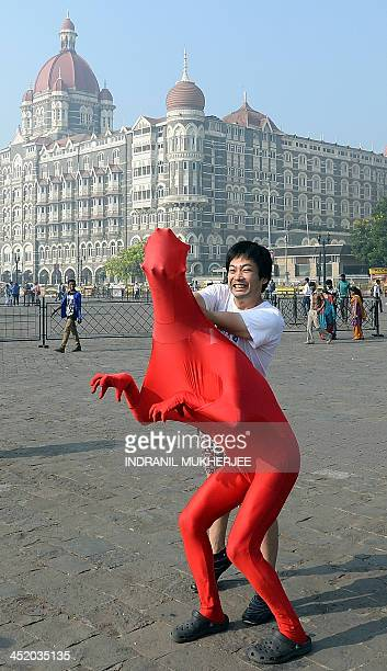 Members of the 3Gaga Heads a threemember comedy group from Japan rehearse at the promenade outside the iconic Taj Mahal Palace and hotel on the fifth...