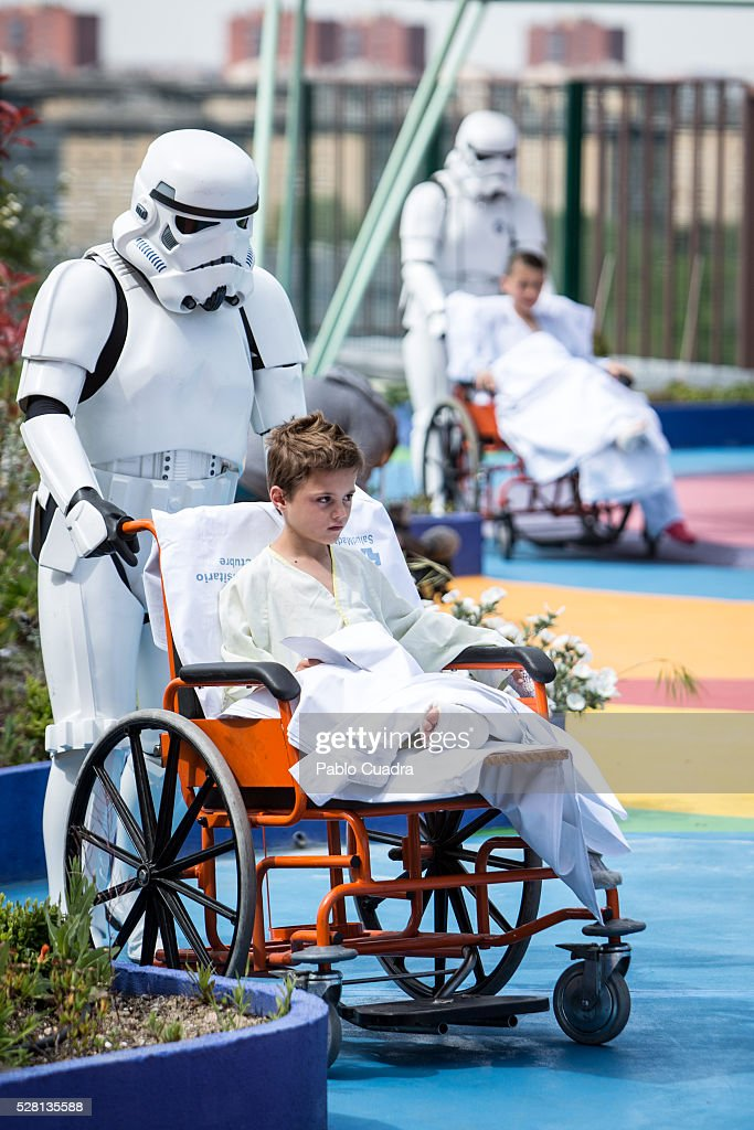 Members of the 501st Legion of Star Wars visit Pediatric Hospital '12 De Octubre' on May 04, 2016 in Madrid, Spain.