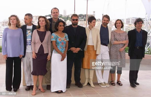 Members of the 53rd Cannes film festival jury 10 May 2000 German actress Barbara Sukowa US director Jonathan Demme French actress and director Nicole...