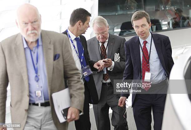 Members of the AFD far right party Bernd Lucke Right HansOlaf Henkel Bernd Koelmel and Joachim Starbatty leave the plenary session of the European...