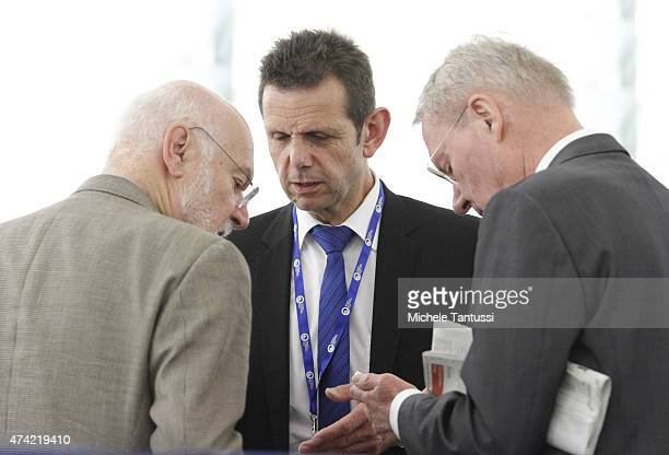 Members of the AFD far right party HansOlaf Henkel Right Bernd Koelmel Center and Joachim Starbatty chat together after the plenary session of the...