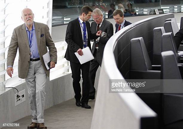 Members of the AFD party Bernd Lucke HansOlaf Henkel Bernd Koelmel and Joachim Starbatty leave the plenary session of the European Parliament on May...