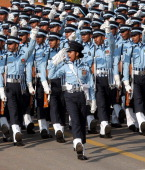 Members of the Air Force contingent at Rajpath during the Republic Day parade on January 26 2012 in New Delhi India India celebrated its 63rd...