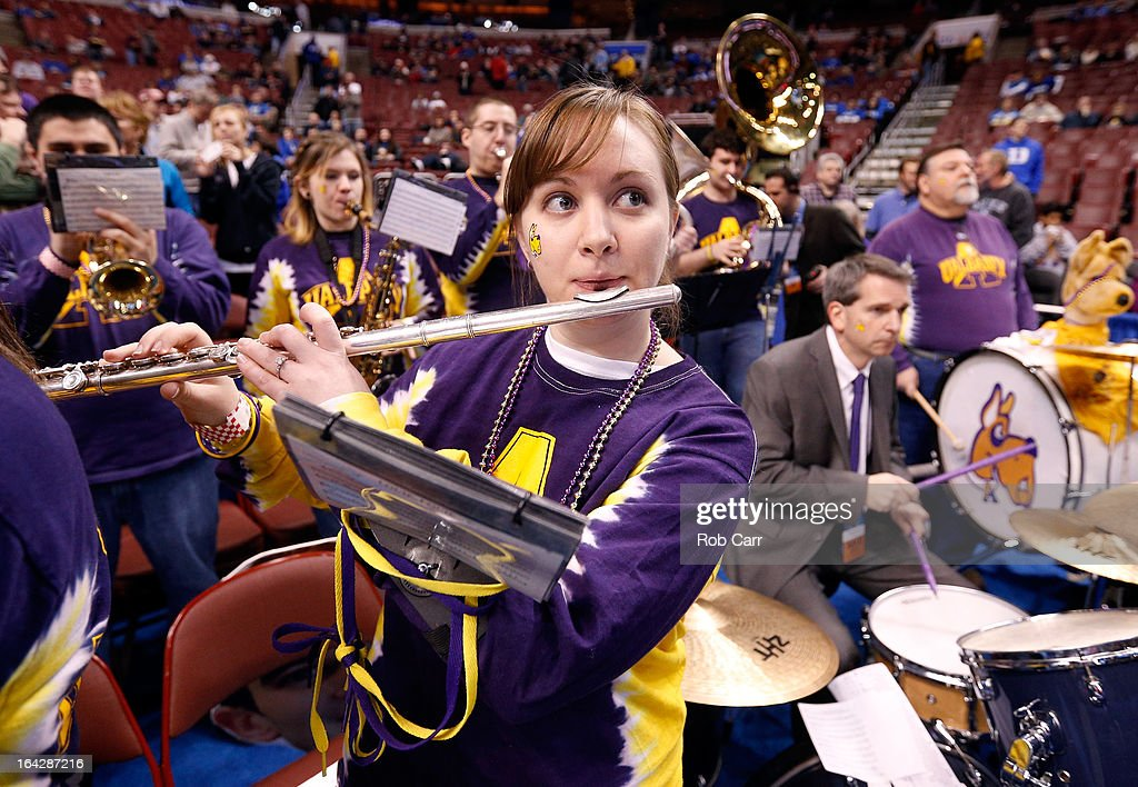 Members of the Albany Great Danes band perform before the Great Danes take on the Duke Blue Devils in the second round of the 2013 NCAA Men's Basketball Tournament on March 22, 2013 at Wells Fargo Center in Philadelphia, Pennsylvania.