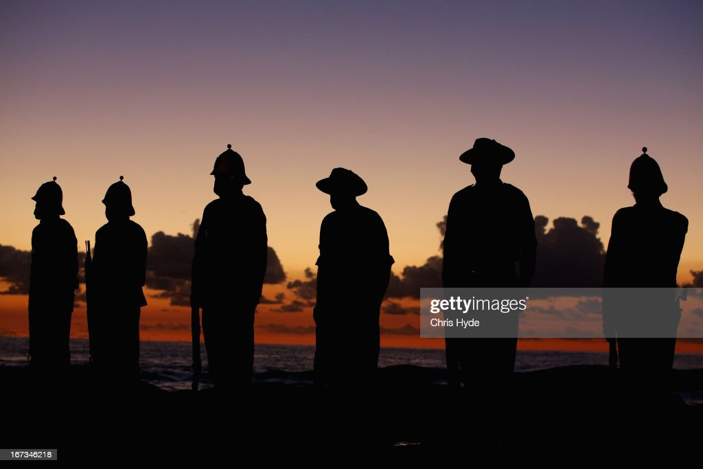 Members of the Albert Battery prepare to shoot a volley of fire during the ANZAC dawn service at Currumbin Surf Life Saving Club on April 25, 2013 in Gold Coast, Australia. Veterans, dignitaries and members of the public today marked the 98th anniversary of ANZAC (Australia New Zealand Army Corps) Day, April 25, 1915 when allied Australian and New Zealand First World War forces landed on the Gallipoli Peninsula. Commemoration events are held across both countries in remembrance of those who fought and died in all wars.