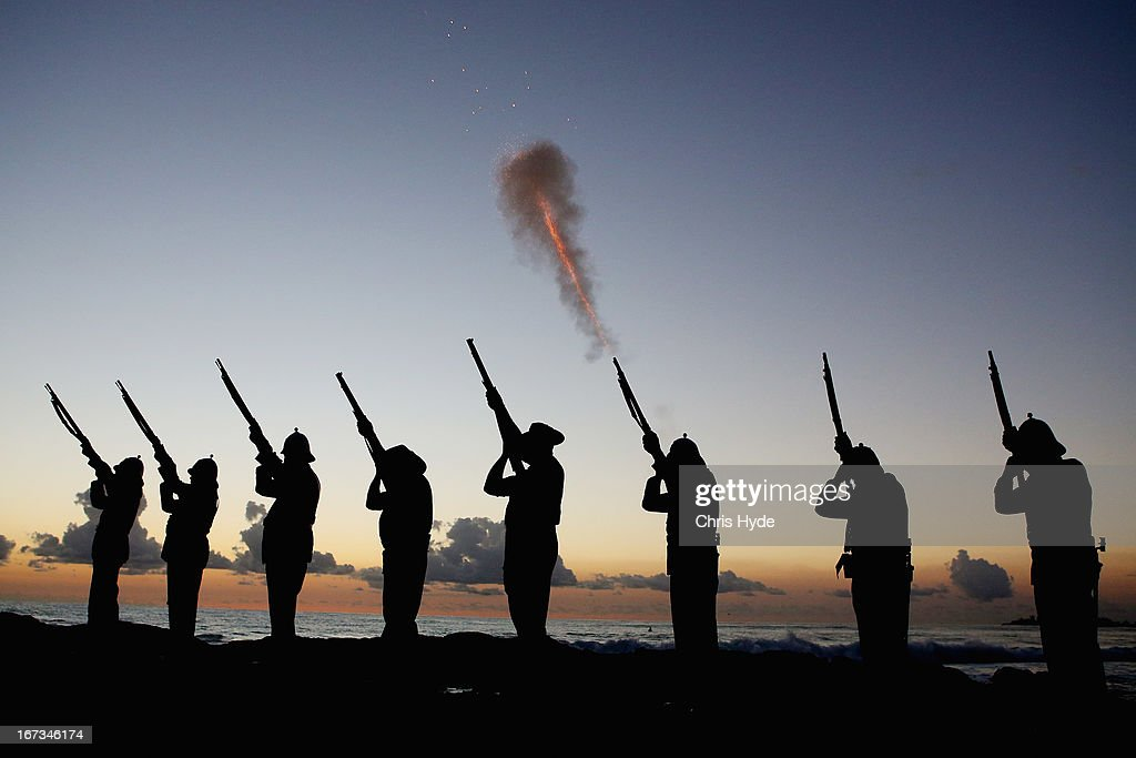 Members of the Albert Battery shoot a volley of fire during the ANZAC dawn service at Currumbin Surf Life Saving Club on April 25, 2013 in Gold Coast, Australia. Veterans, dignitaries and members of the public today marked the 98th anniversary of ANZAC (Australia New Zealand Army Corps) Day, April 25, 1915 when allied Australian and New Zealand First World War forces landed on the Gallipoli Peninsula. Commemoration events are held across both countries in remembrance of those who fought and died in all wars.