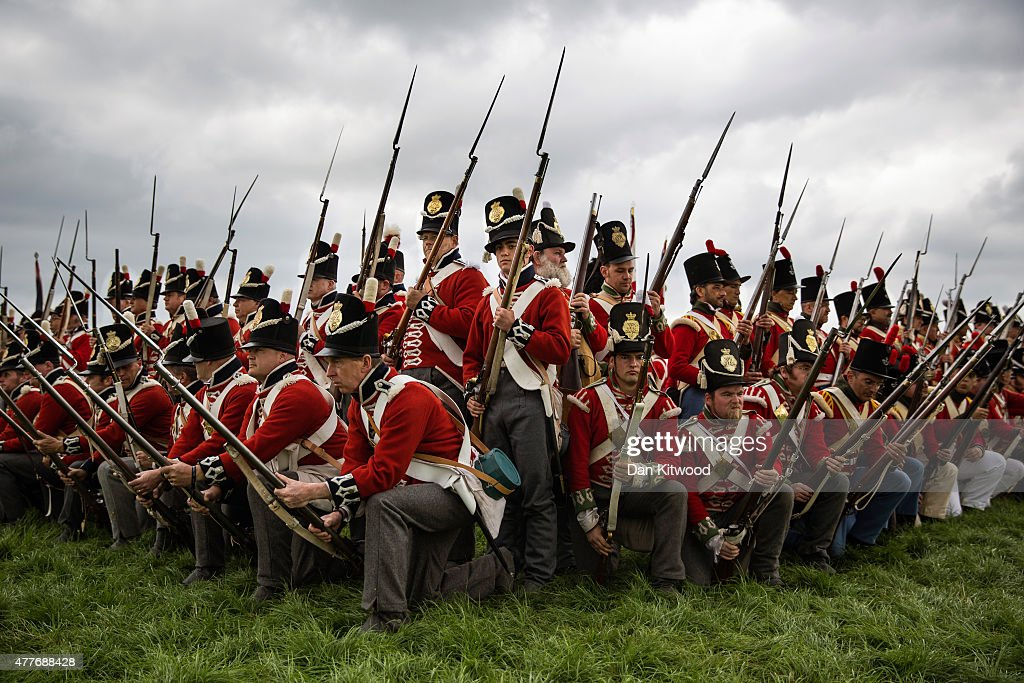 Members of the Allied army practice their square formation to counter cavalry charges on June 19, 2015 in Waterloo, Belgium. Around 5000 historical re-enactors will amass this evening to stage the 1st battle re-enactment, the 'French attack', in front of around 200,000 spectators from around the world. The event will mark the 200th anniversary of the Battle of Waterloo. The 1815 battle saw the overthrow of Napoleon Bonaparte and the restoration of Louis XVIII to the French throne.